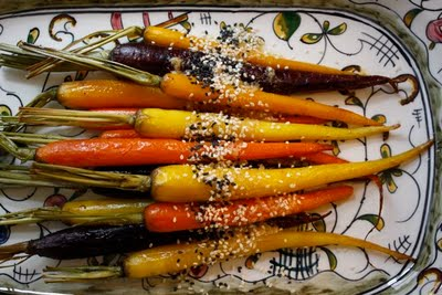 Roasted Rainbow Carrots with Miso Butter