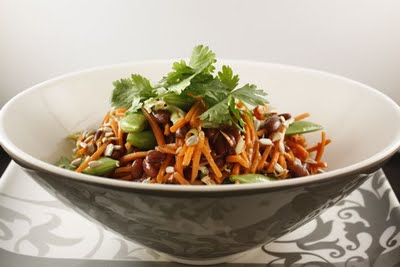Carrot Salad with Red Beans, Miso Dressing