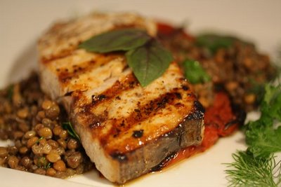 Grilled Swordfish, Lentils with Truffle Oil