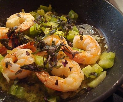 Pink Shrimp, Green Tomato, Purple Basil