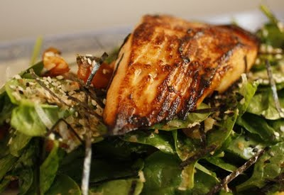 Salmon & Salmon Skin Spinach Salad, Miso Chile Lime Dressing