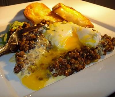 Rise & Shine! Poached Egg, Lentils, Béarnaise