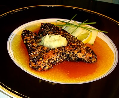 Toasted Seaweed Crusted Salmon, Lemon Tamari