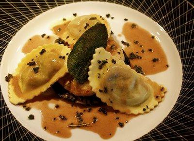Wild Mushroom Agnolotti with Veal, Portobello, Fried Sage