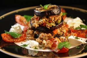 Eggplant &amp; Spiced Lamb Napoleon