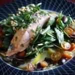 Steamed Salmon & Spinach Salad, Meyer Lemon Cream