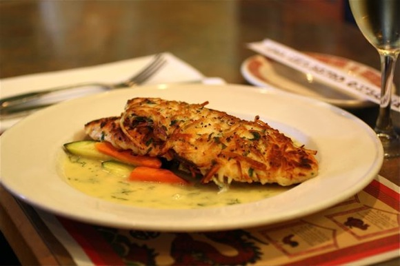 A very special potato crusted salmon taste with the eyes for Potato crusted fish