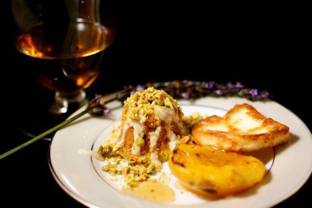 sherry course oloroso sherry mini pistachio bundt cake grilled peach ...
