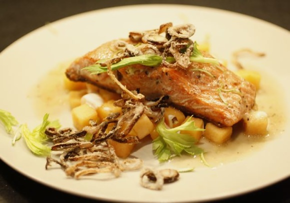 Salmon with Cantaloupe, Horseradish Vinaigrette - Taste With The Eyes ...