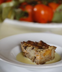 persimmon bread pudding, bourbon creme anglaise
