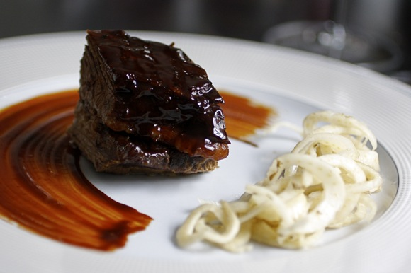 lacquered brisket of beef, pickled fennel