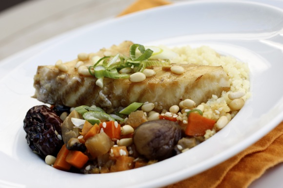 braised alaskan halibut, global flavors