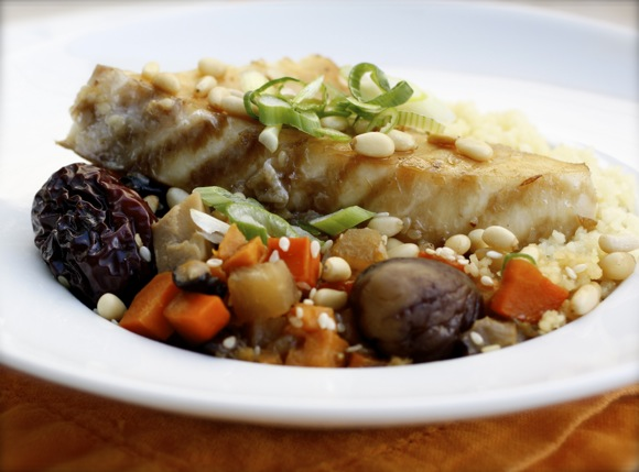 braised alaskan halibut, global flavor halibut
