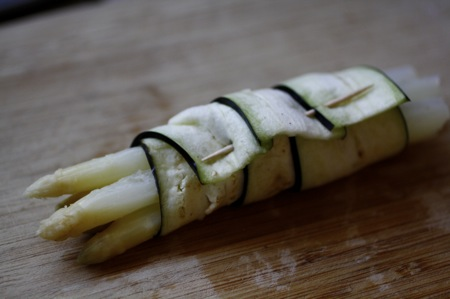 white asparagus and eggplant