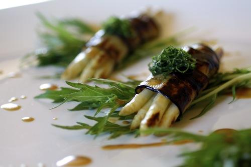 white asparagus, eggplant, mizuna