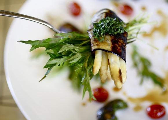 white asparagus, japanese eggplant