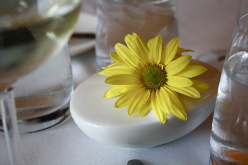 chicago, blackbird restaurant, yellow daisy