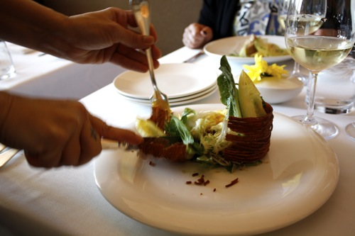 salad of endives, blackbird restaurant, potato basket