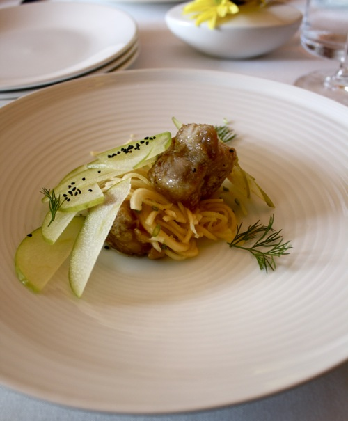 maple glazed veal sweetbreads with rutabaga, granny smith apple and ...