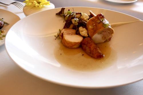 chicago's blackbird restaurant, chicken and sausage
