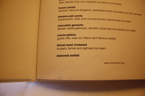 chicago's blackbird restaurant, dessert menu