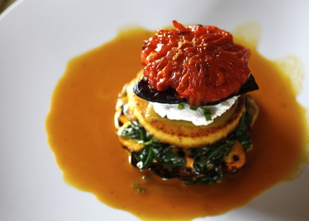 spicy smoky heirloom tomato, vegetable stack