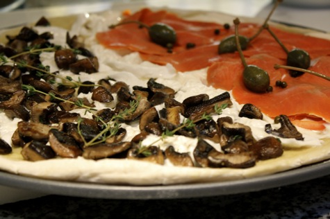 mushroom burrata smoked salmon pizza