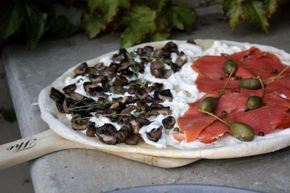half mushroom & burrata, half smoked salmon & crema pizza, half & half pizza