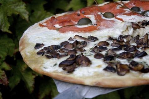 mushroom burrata smoked salmon pizza