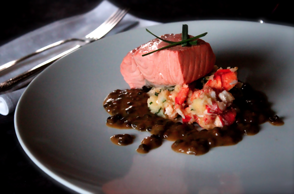 poached salmon, lobster mash, lentil gravy