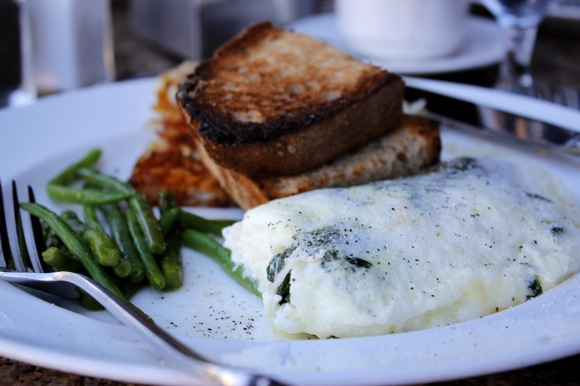 mon ami gabi breakfast, spinach & green vegetable egg white omelette