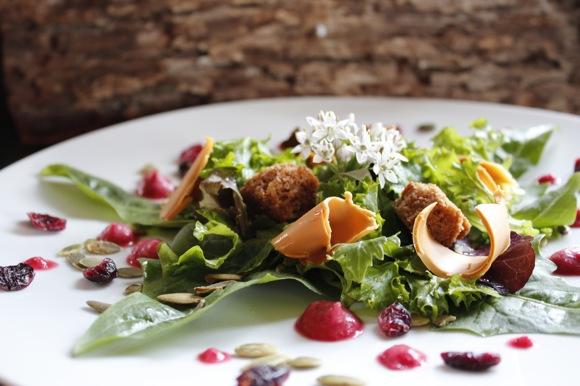 gjetost salad, wild greens, cranberry vinaigrette