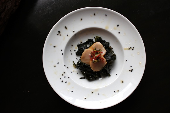 scallop and seaweed