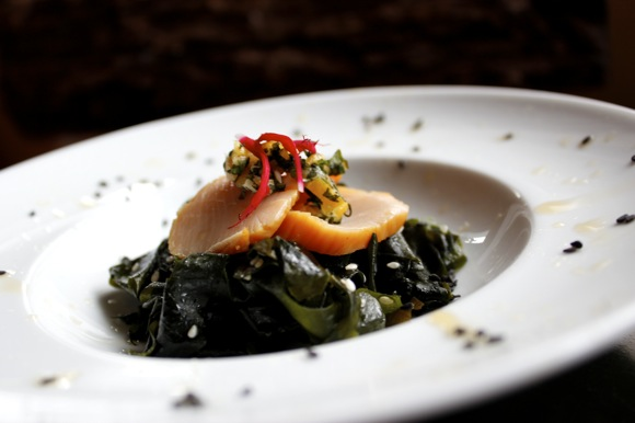 smoked scallop and wakame