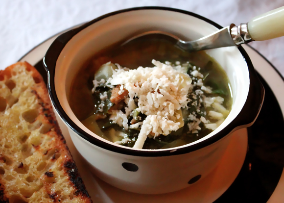 rustic Style Soup with Ricotta Salata