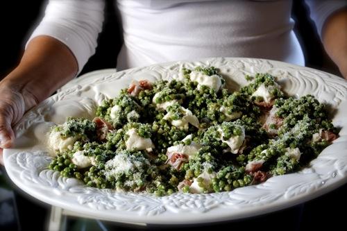 prosciutto with burrata, minted peas