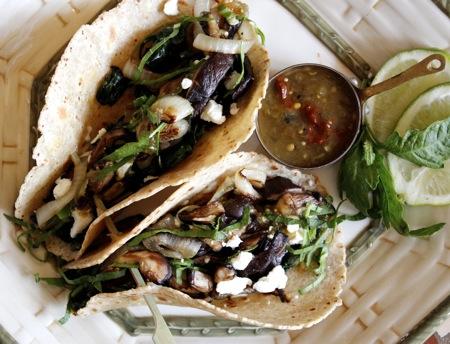 vegetarian tacos, chipotle salsa verde