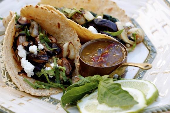 green chard shiitake tacos, epazote