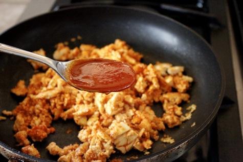 spicy tofu scramble, gochujang