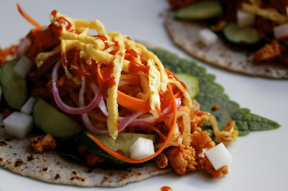 spicy colorful veggie tacos, korean veggie tacos