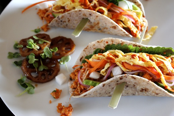 korean tacos, veggie korean taocs