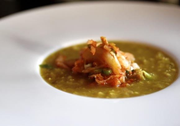 mung bean soup, kimchi