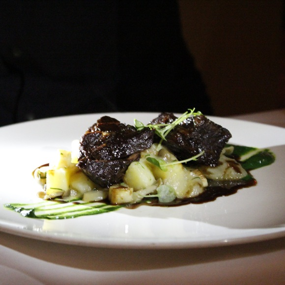 hatfield's hanger steak and red wine braised short rib