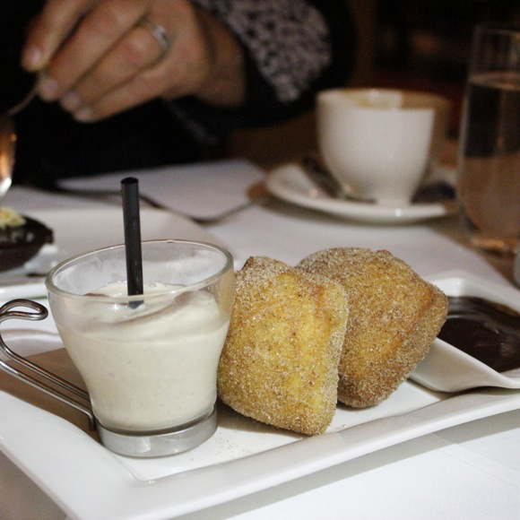 hatfield's sugar and spice beignets, root beer milkshake shot
