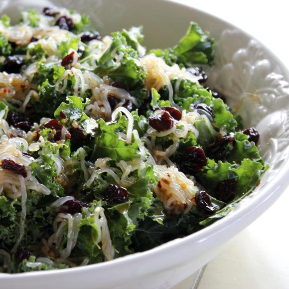kale noodle salad, raw kale