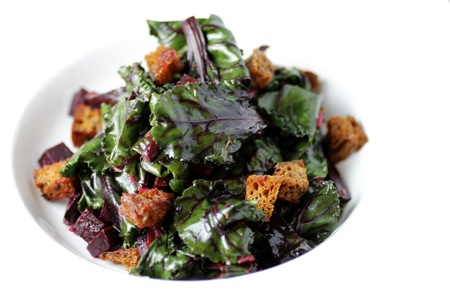 wilted beet greens, taste with the eyes