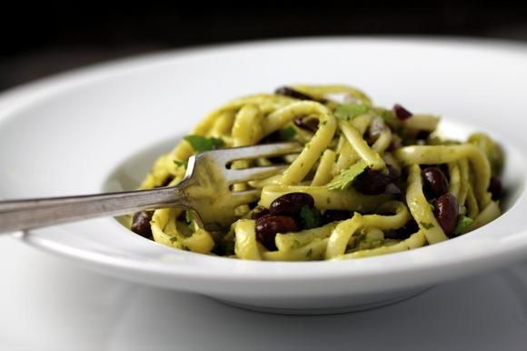pasta avocado sauce black beans