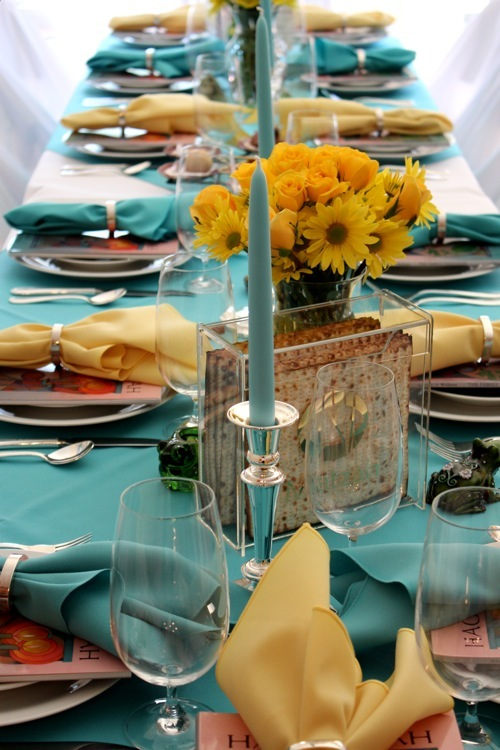 turquoise yellow passover table