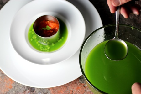 spring bliss soup, sugar snap pea soup, chilled pea and mint soup