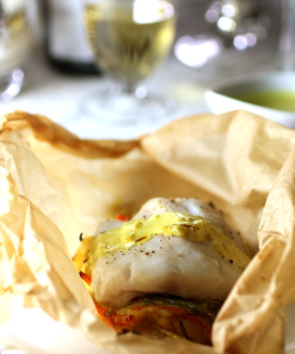 fish in parchment, saffron cream sauce